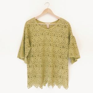 Sundance | Green Lace Bell Sleeve Floral Blouse